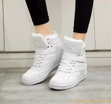 Women ankle boots wedges shoes casual height increased high top sneakers