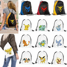 Pokemon Go Cute Drawstring Backpack Cinch Sack Gym Tote Bag School Sport Pack