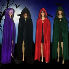 Velvet Hooded Cloak Halloween Wicca Robe Medieval Gothic Witchcraft Larp Cape