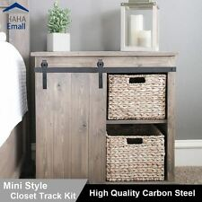 "Mini Sliding Barn Door Hardware Wood Door Closet Cabinet Track Kit Bent ""J""Style"