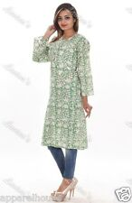 Green Cotton Long Tunic Women Designer Hippie Indian Block Printed Kurti Dress
