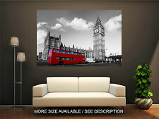 Wall Art Canvas Print Picture London Big Ben and Red Bus-Unframed