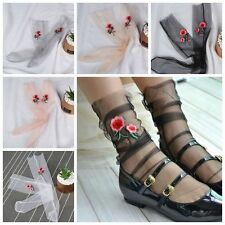 Women Girls Fashion Sheer Mesh Ankle Socks Embroider Hosiery Rose Flowers Sock