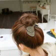 Lovely Crystal Leather Hair Bows Hair clips Barrette Rhinestone Hairpin girls UK