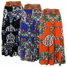 Ladies Womens Indian Summer Floral Skirt Midi Gypsy Floating Belted Butterfly