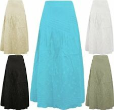 Ladies Womens Cotton Summer Skirt Floral Embroidered Fully Layered Maxi C4019