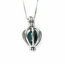 "925 Sterling Silver Black Freshwater Pearl Heart Cage Pendant 16""-24"" Necklace"