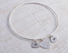 STERLING SILVER BEST FRIENDS PERSONALISED HEART HEARTS ROUND HAMMERED BANGLE