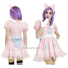 Baby Doll Cosplay Costume Dress Peter Pan Collar & Pink Bow Headband JRS M-XL