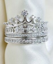 AAA CZ Zircon Crown Princess double band Ring Sets 18K White Gold GP Bride ring