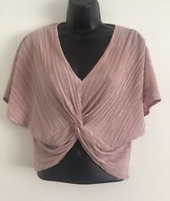 NEW Ex Topshop Rose Gold Front Twist Plisse Crop Everyday Blouse Top Size 4-14