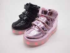 Baby Toddler Kids Boy Girl Light Up Rechargeable USB LED Velcro Sneaker Shoes