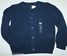 baby Gap NWT Girl's 18 24 Mo. 4T Navy Blue Cardigan Sweater - Textured Cotton