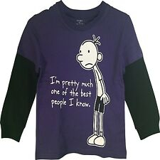 Diary of a Wimpy Kid Indoor Person Boy's Long Sleeve T-Shirt Purple,Black