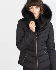 NWT Zara Black Quilted Puffer Coat with Fur Hood & Collar Coat, Size Small