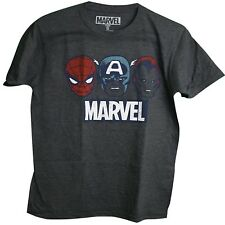 Marvel Avengers Spider-man Captain America Iron Man Faces Adult Men's T-Shirt