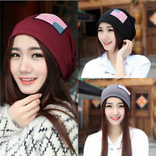 Unisex Womens Girls Warmer Flag Baggy Beanie Knit Crochet Ski Hat Cap New 184