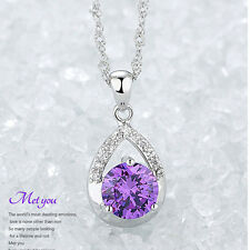 Women Silver Plated Necklace Jewelry Elegent Crystal Pendant Clavicle Chain