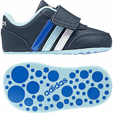 Adidas Neo Baby Infants Shoes Jog Crib Soft Leather Navy BC0089 Boys Girls New