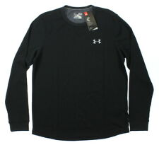 Under Armour 0486 Athletic Workout Gym Mens Waffle Long Sleeve Crew Sports Black