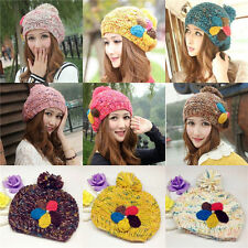 Winter Warm Women Crochet Knitting Wool Hats Beret Ski Beanie Ball Caps Hot 121
