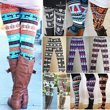 Women Christmas Leggings Xmas Snowflake Reindeer Stretchy Jogging Pants Trousers