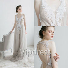 Custom Beach Wedding Dresses Sleeveless Lace Applique Beaded Pearls Bridal Gowns