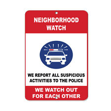 Report All Suspicious Activities To Police Security Sign Aluminum METAL Sign