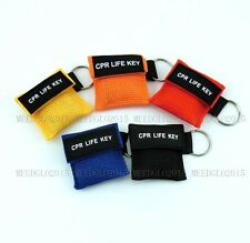 500pcs/pack 5 COLORS ONE WAY VALVE CPR MASK KEYCHAIN POUCH RESCUE CPR LIFE KEY