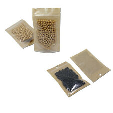 Front Clear Ziplock Bags Brown Kraft Paper Pouch Food Grade Reclosable