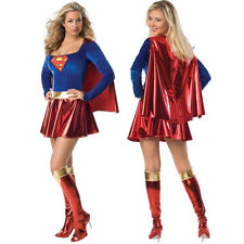 NEW ADULTS SUPERGIRL SUPERMAN SUPERHERO COSTUME FANCY DRESS COSPLAY OUTFIT M-2XL