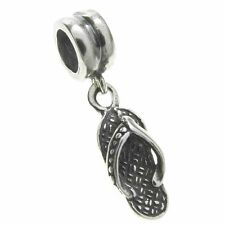 925 Sterling Silver Flip Flop Dangle Bead For European Charm Bracelets