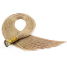 Stick I-Tip Hair Extensions Remy Human Hair 50 Strands 50g Straight  #18 Blonde