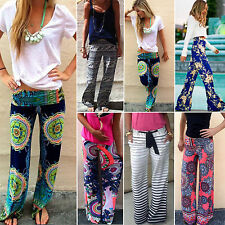 Women Floral Loose Boho Long Trouser Straight Wide Leg Beach Palazzo Harem Pants