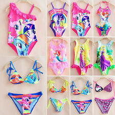 Girls Kids One Piece Swimwear Bikini Tankini Swimsuit Swimming Beach Costume Set