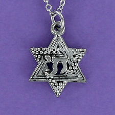 Star of David with Chai Necklace - Pewter Charm on Chain Jewish Judaica Star NEW