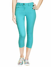 New M&S Collection Aqua Blue 5 Pocket Cropped Jeggings Trousers Sz UK 14