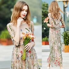 Women Flower Embroidery Floral Lace Mesh Evening Party Cocktail Long Maxi Dress