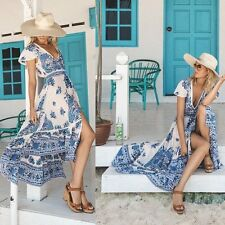 Women Summer Long Dress Beach Short Sleeveless Evening Maxi Sundress Boho V-Neck