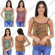 New Ladies Strappy Neon Leopard Animal Print Camisole Cami Vest T-Shirt Mini Top