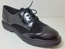 New Womens Loafers Brogue Smart Formal Oxford Flat Office School Lace up shoes