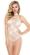 Fantasy, High Neck Lace Playsuit, Bridal, Champagne Teddy, Romper, Sexy Lingerie