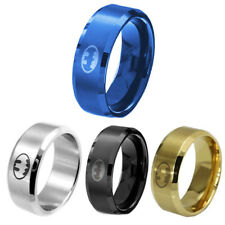 Men Women 8MM Stainless Steel Titanium Band Ring Batman Logo Wedding Size 6-14