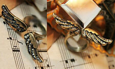 3 PEARL OR ANGEL WINGS VINTAGE RETRO FINGER TOE RING ADJUSTABLE SIZE
