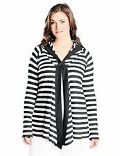 Calvin Klein Performance Women's Plus-SZ One-Button Thermal-Stripe Cardigan