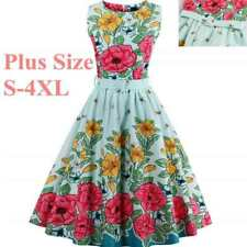 1950s Vintage Swing Floral Sleeveless Plus Size Pinup Rockabilly Retro Dress