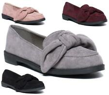 New Ladies Faux Suede Slip On Flat Bow Loafers Pumps Office Work Shoes Size 3-8