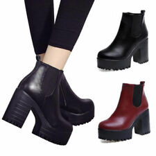 New Women Chelsea Ankle Boots Platforms Block Mid Chunky High Heels Zip Shoes