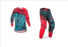 NEW FLY RACING ADULT MENS KINETIC MESH CRUX TEAL RED BLACK JERSEY + PANTS COMBO
