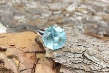Blue Topaz Cubic Zirconia Ring 15mm Round Solitiare Stainless Steel - Size 6